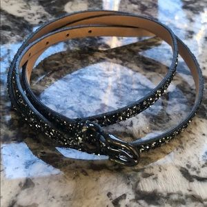 Black sparkly jcrew skinny belt sz medium